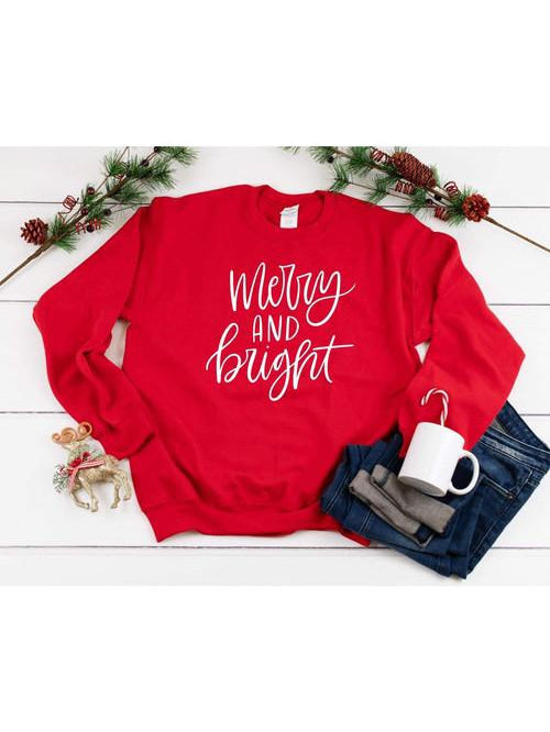 'Merry and Bright' Red Sweatshirt