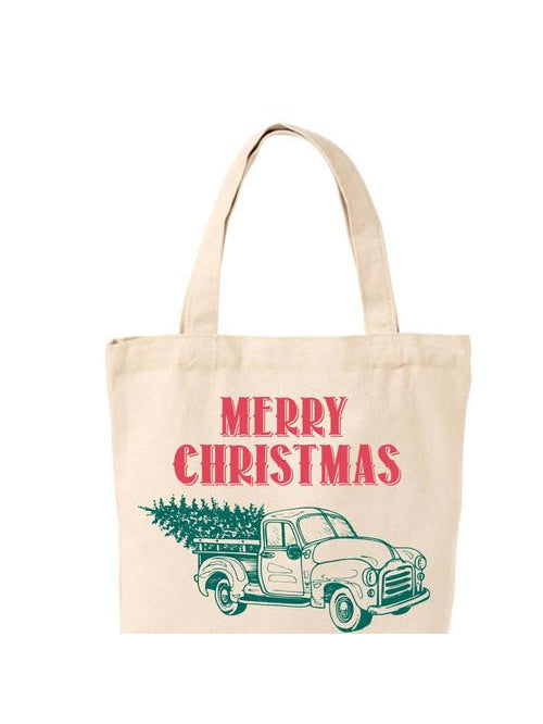 MERRY CHRISTMAS VINTAGE TRUCK BAG