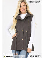 Military Style Hooded Utility Vest - Ash Grey