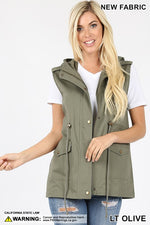 Military Style Hooded Utility Vest - Light Olive
