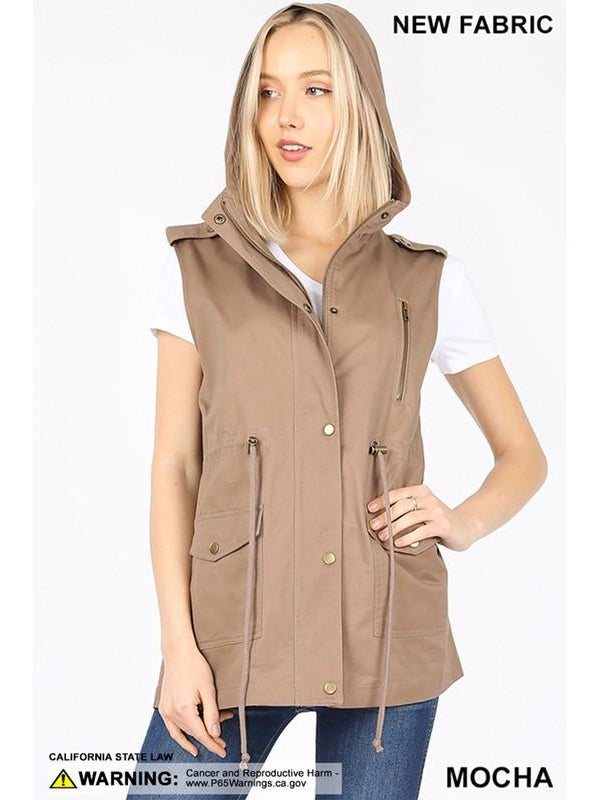 Military Style Hooded Utility Vest - Mocha