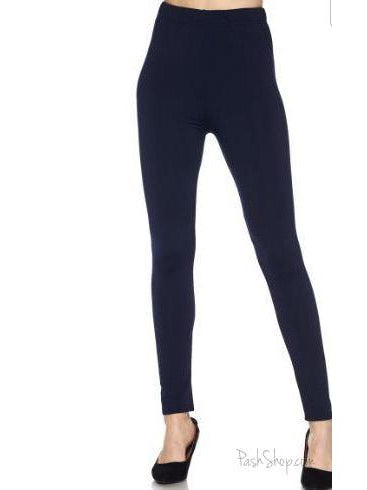 Navy Solid Fleece Leggings