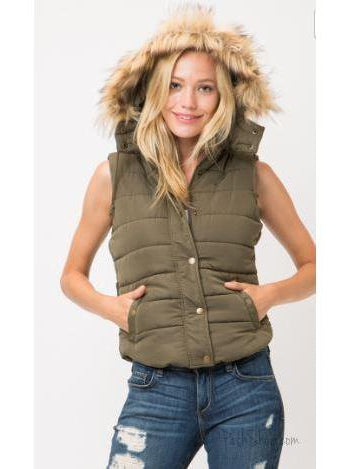 Olive Puffer Vest with Hood Fur Trim
