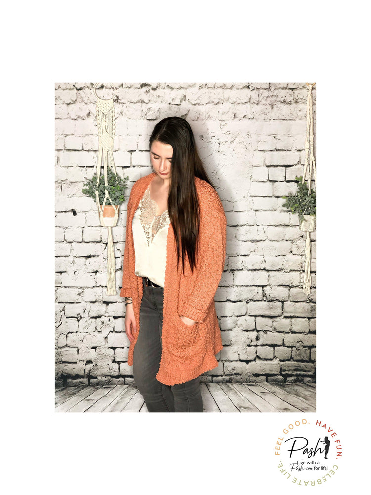 The Essential Rust/Coral Fuzzy Popcorn Cardigan