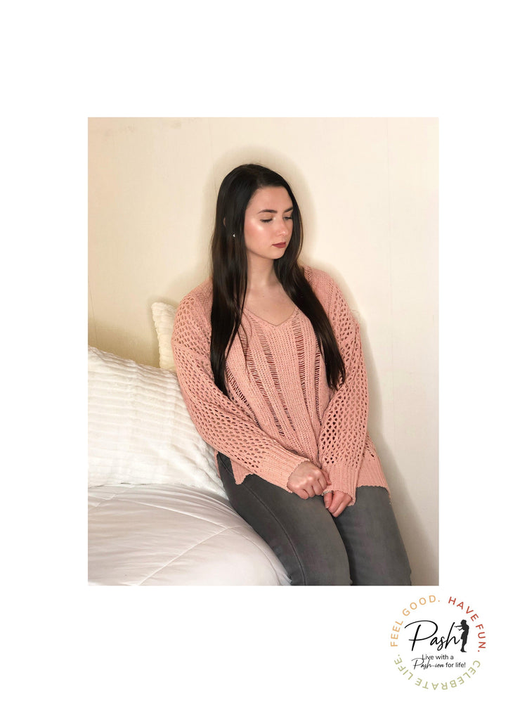 Simply Sweet  - Super Soft Blush Open Knit Crochet Sweater