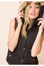 Black Puffer Vest with Hood Fur Trim