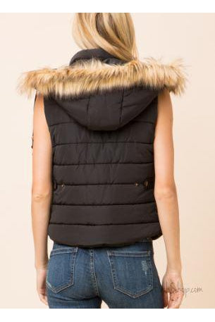 Black Fitted Puffer Vest with Hood Fur Trim