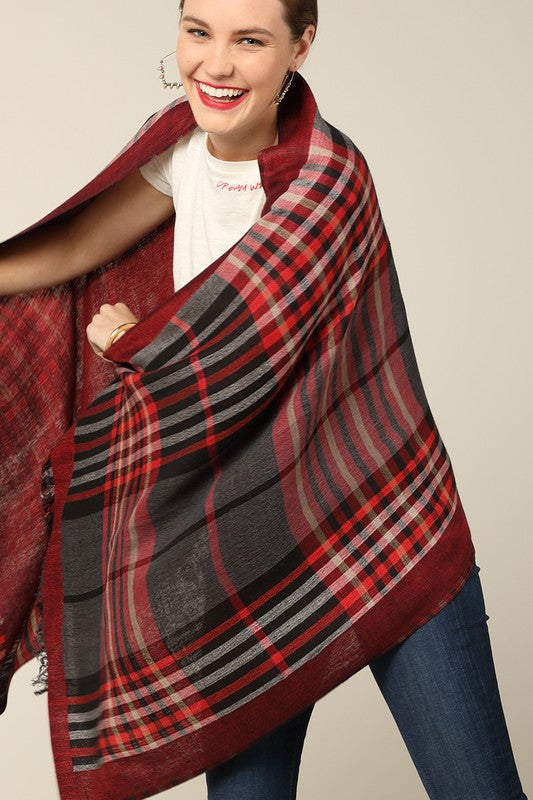 Reversible Red/Black Plaid Scarf