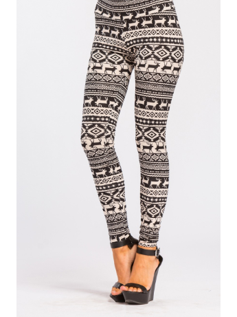 Brushed Soft Reindeer Print Black Ankle Leggings