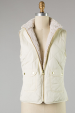 'Follow Your Own Path' Reversible Quilted Ivory Vest