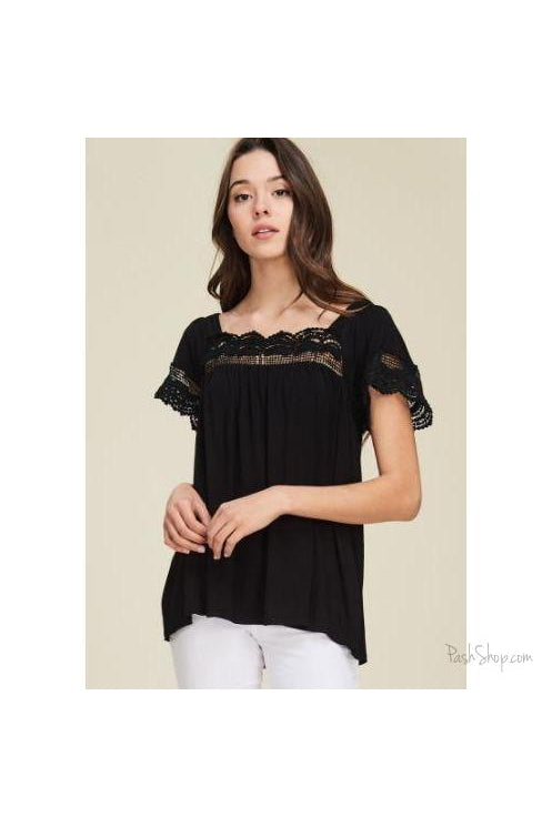 SALE - Touch of Lace Short Sleeve Blouse