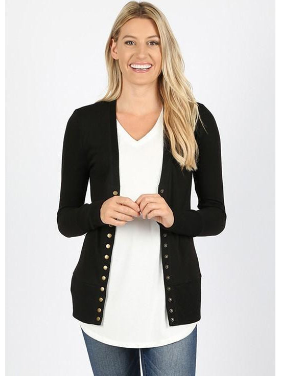 'On the Go' Black Snap Front Cardigan