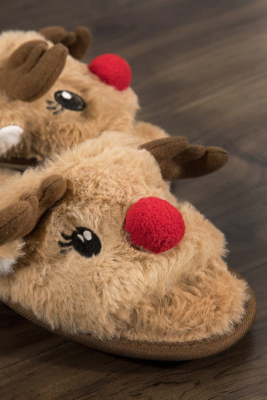 Super soft reindeer open toe slippers