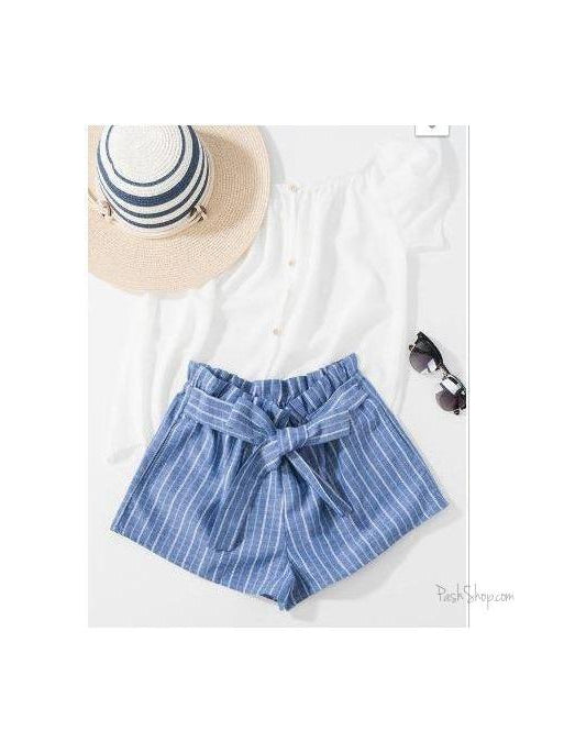 Blue Striped Elastic Waist Self Tie Front Shorts