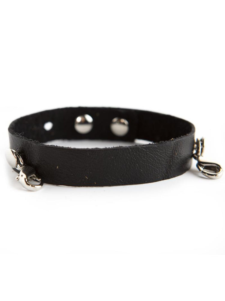 Leather Cuff Buildable Bracelet - Black