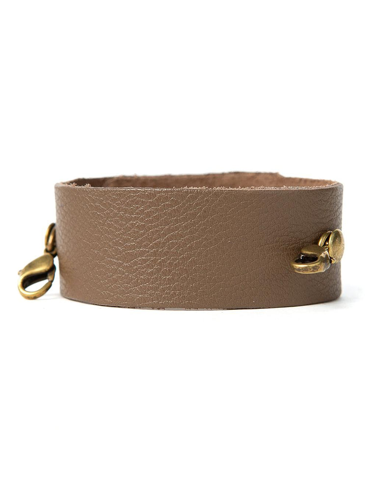 Thin Leather Vintage Cuff Buildable Bracelet - Taupe with Bronze