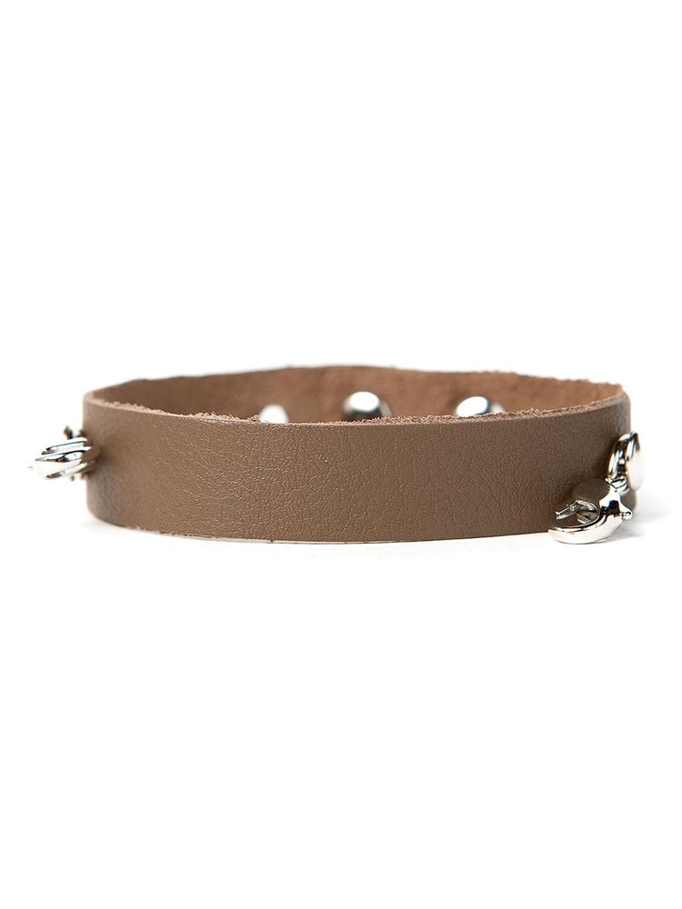 Leather Cuff Buildable Bracelet - Taupe