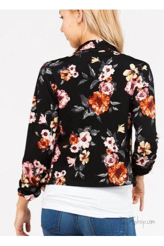 Three quarter sleeves floral print blazer