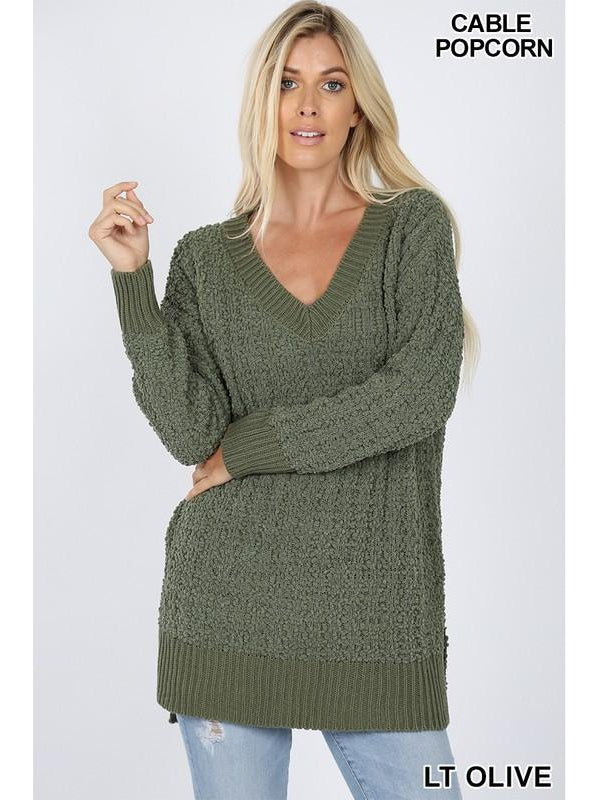 Wind Down Popcorn Sweater - Light Olive