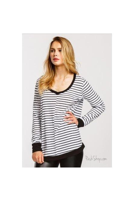 White Black Striped Long Sleeve Loose Fit Top