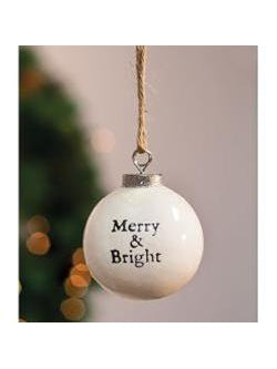 "White Ceramic Ornament, ""Merry and Bright"""