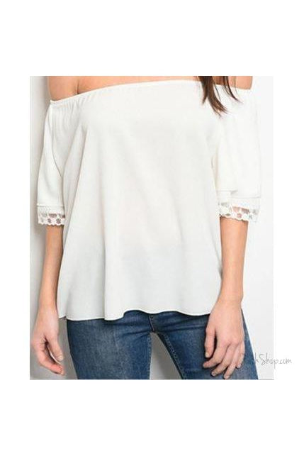 LACE HEM OFF SHOULDER TOP - Ivory