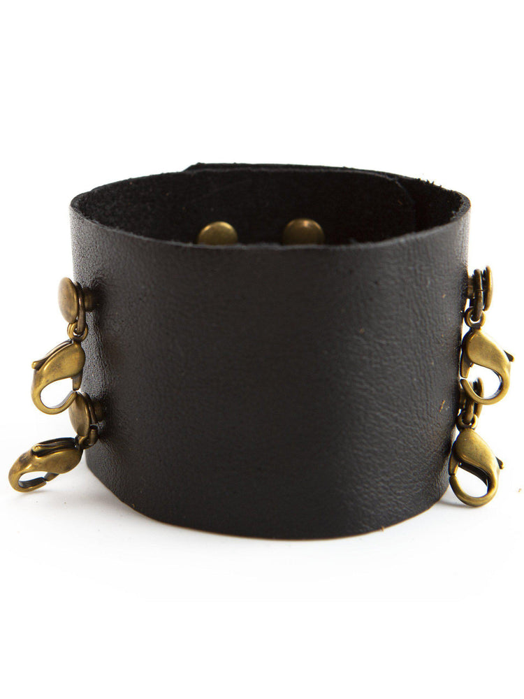 Wide Leather Vintage Cuff Buildable Bracelet - Black with Bronze
