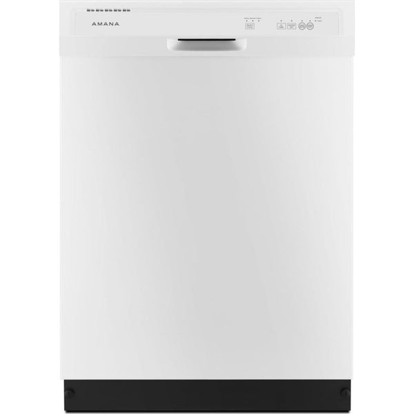AMANA ADB1400AGW Dishwasher with Triple Filter Wash System-White front and slate gray plastic tank