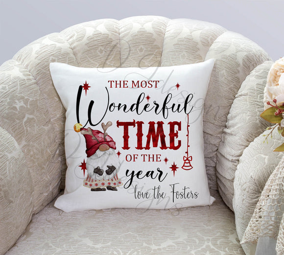 Red Gnome Wonderful Time Of The Year Cushion