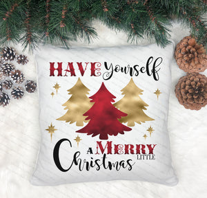 Red And Gold Christmas Tree Cushion