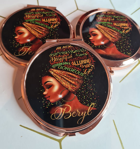 Black Queen Affirmation Compact Mirror