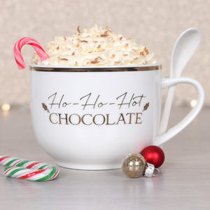 HO HO HOT CHOCOLATE MUG AND SPOON SET