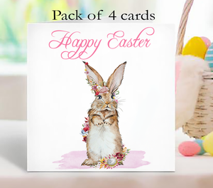 Floral Rabbit Happy Easter Pack Of 4 Cards