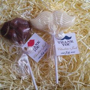 Wedding Moustache Chocolate Lollipops