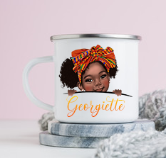 Kente Girl Enamel Mug