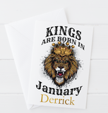 Kings Are Born In... Lion Birthday Card