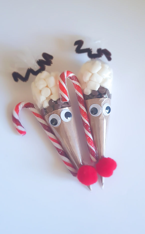 Dairy free Reindeer Hot Chocolate Cones