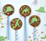 Round Dinosaur Chocolate Lollies