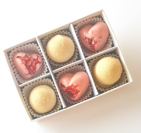 Prosecco Truffles and Raspberry Hearts