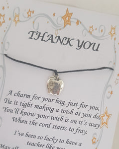 Thank You Teacher Wish Charm Card