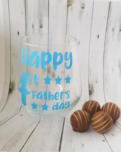 1st Father's Day Stemless Wine Glass