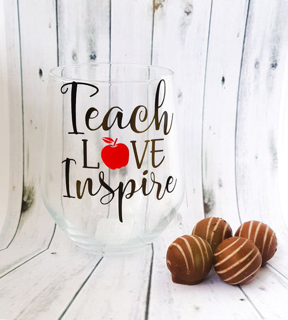 Teach, Love & Inspire Stemless Wine Glass and Chocolates