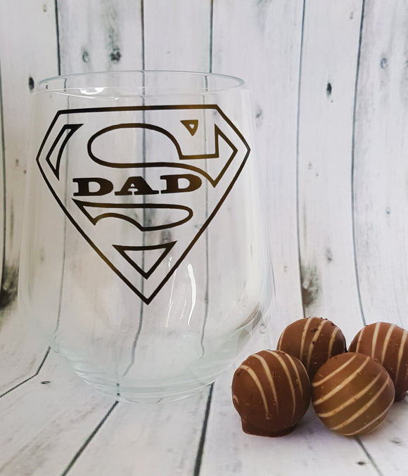 Super Dad Stemless Wine Glass
