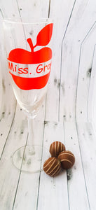 Personalised Apple Champagne Flute & Chocolates