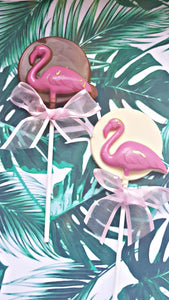Flamingo chocolate lollies