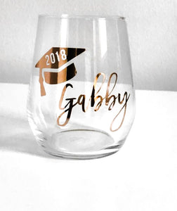 Graduation Stemless Wine Glass