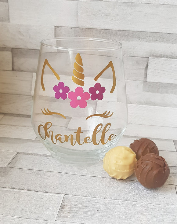 Personalised Unicorn Stemless Wine Glass