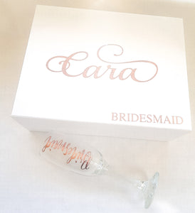 Personalised Bridal Box & Champagne Flute Set