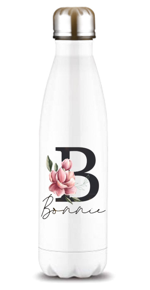 Magnolia Black Initial And Name Printed Bottle Flask