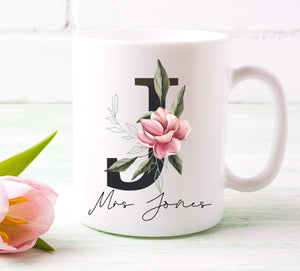 Teacher Magnolia Black Initial Printed Mug